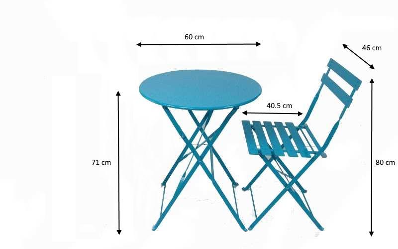 Dimensioni ingombri set blue tavolo e sedie in metallo pieghevole
