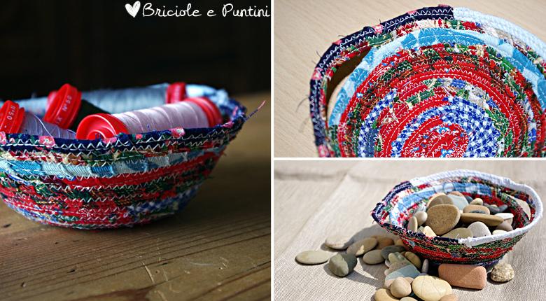 riciclo creativo - ciotola portatutto con ritagli di stoffa