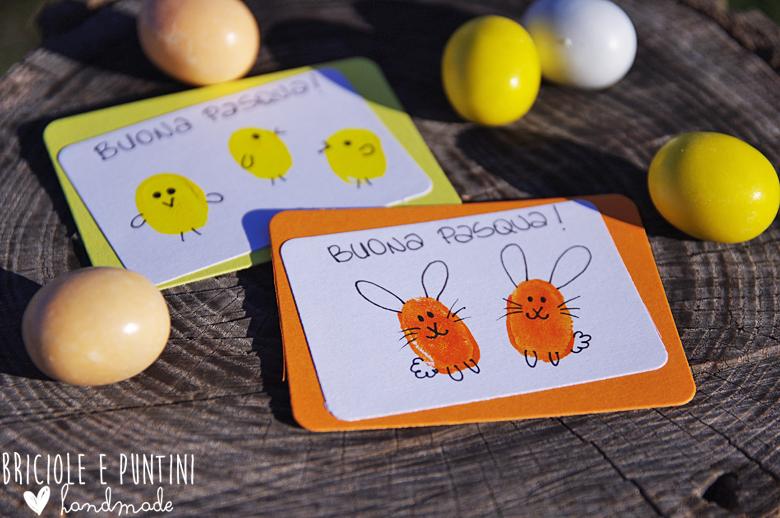 biglietti di Pasqua dipinti con le dita