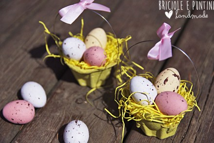 riciclo creativo dei cartoni delle uova - cestini porta ovetti per Pasqua