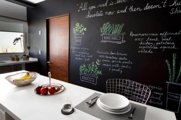 parete di vernice lavagna in cucina