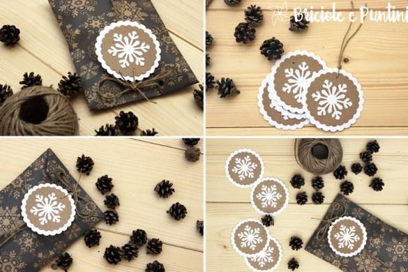 tag chiudipacco di Natale con fiocco di neve
