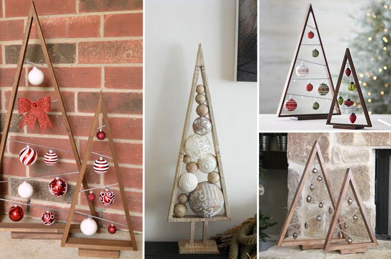 alberi di Natale in legno silhouette