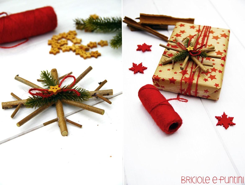 Addobbi natalizi - fiocchi di neve con legnetti di recupero