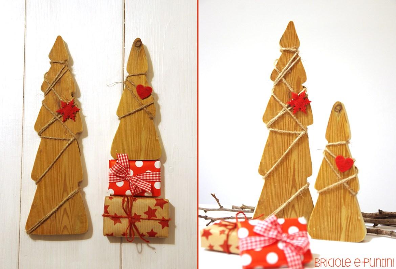 Alberi di natale decorativi in legno briciole e puntini for Alberi di natale fai da te in legno