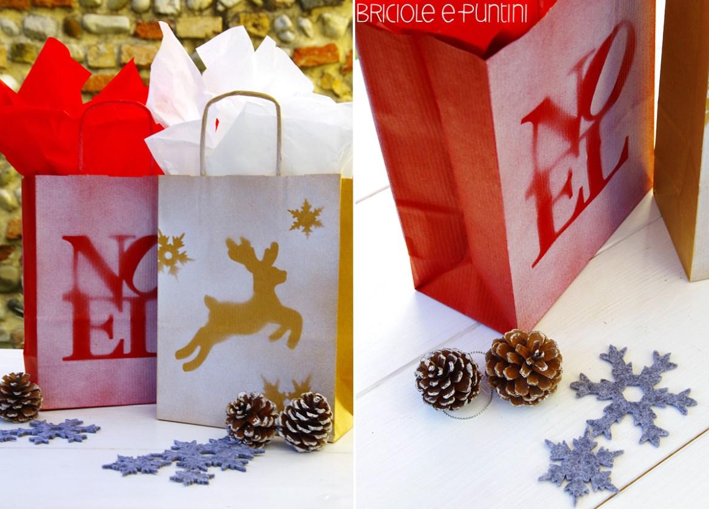 borsette di Natale con stencil spray