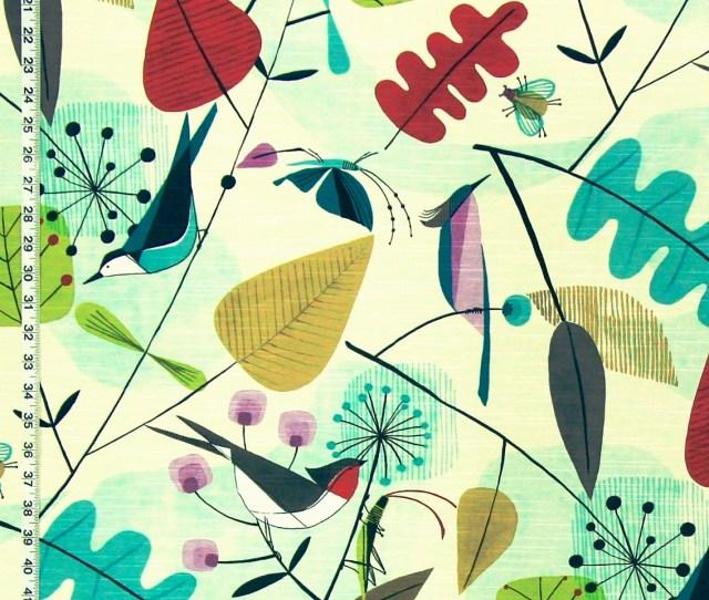 Scandinavian Fabric Retro Modern Graphic Bird Leaves Dig Dark Sale