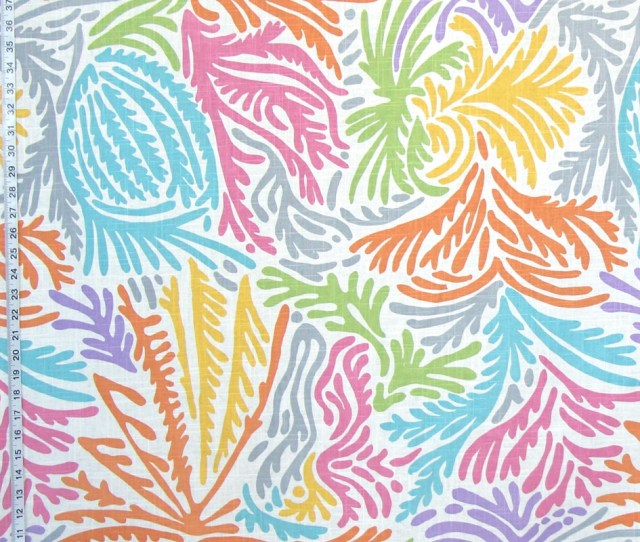 Modern Abstract Fabric Retro Tropical Ocean Palm Coral Linen