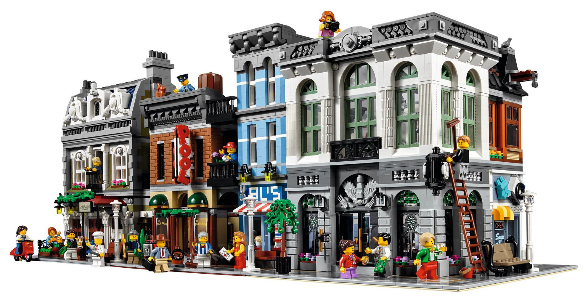 LEGO Brick Bank 10251 Modular Building Up for Order    Bricks and Bloks LEGO Modular Buildings on Street Together with Brick Bank