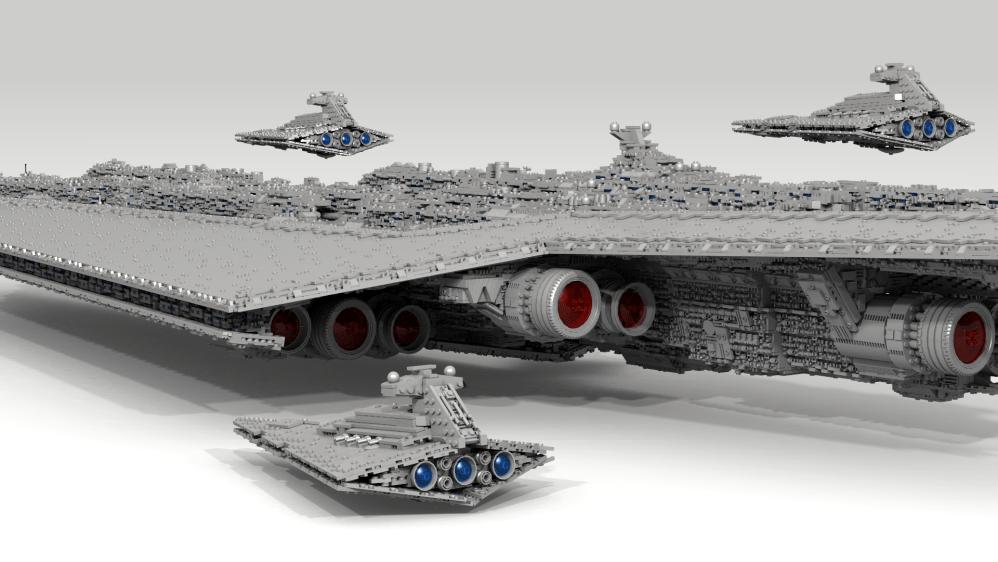 71,000 piece, 13-foot Super Star Destroyer, by Fox Hound; ISD by Brickdoctor