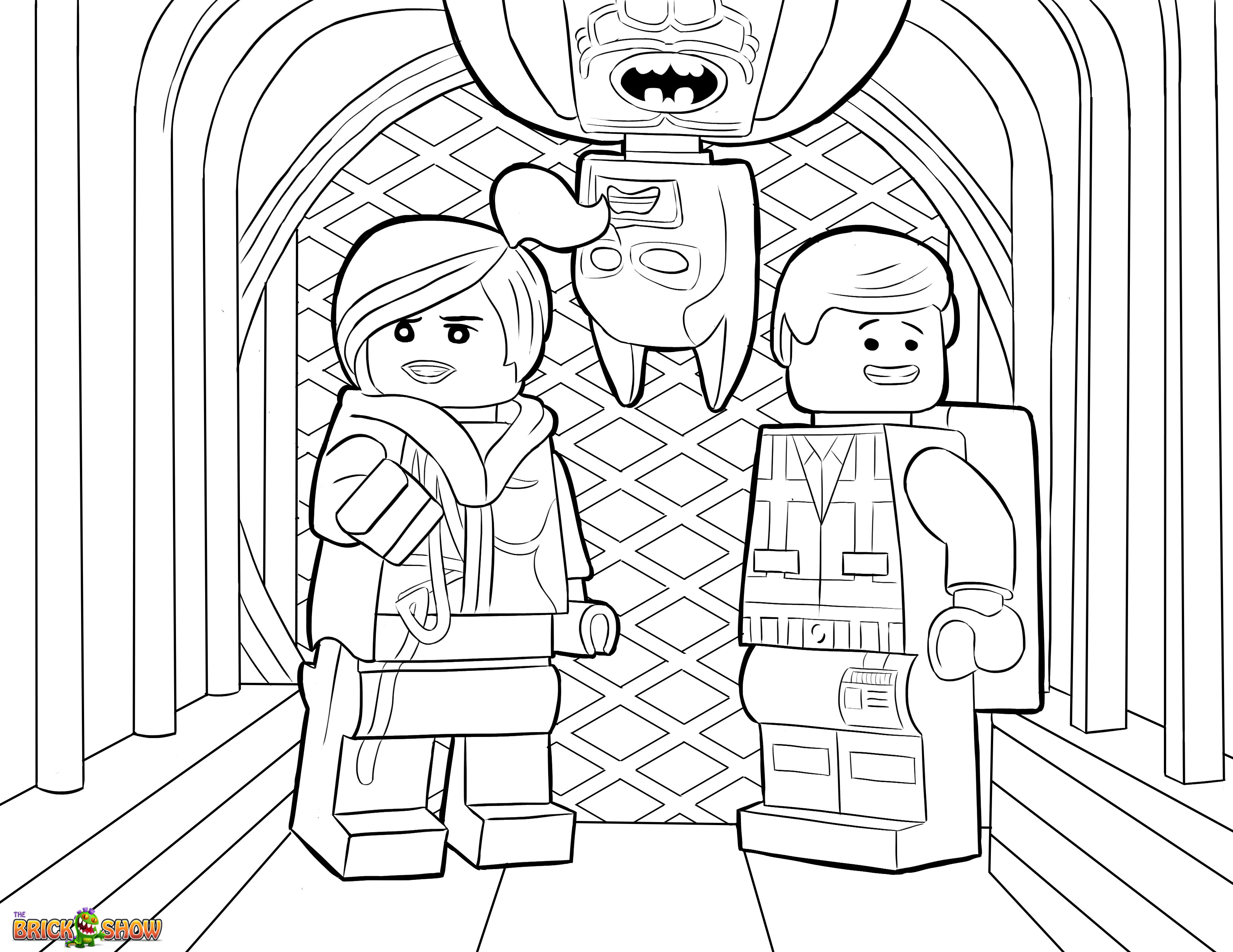 the lego movie coloring page lego wyldstyle emmet amp batman printable