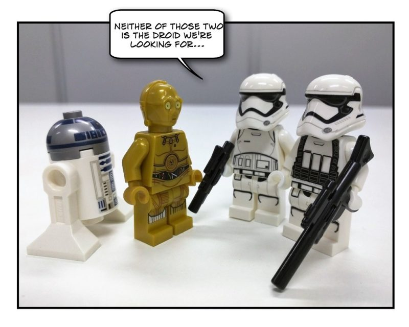 R2-D2, C-3PO and First Order Stormtroopers - not the droid they're looking for