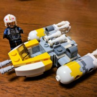 Y-Wing Microfighter before and after