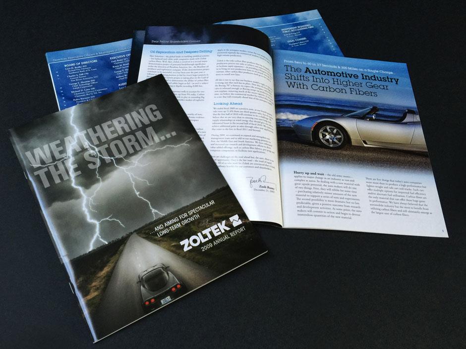 Zoltek Annual Report, brochure, report, graphic design