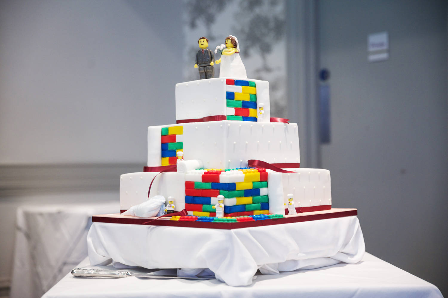 Lego Themed Wedding Cake Includes Personalised And Edible Minifigure Groom Bride Three Tier