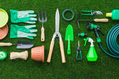 depositphotos 125234492 stock photo set of gardening tools on - Home