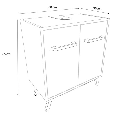 meuble sous lavabo ladoga blanc l 60 cm goodhome