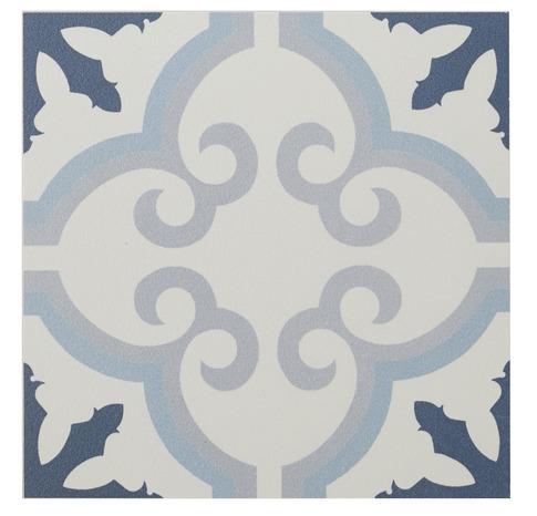 Carrelage Interieur Sol Mur Decor Flower Bleu Hydrolic L 20 X L 20 Cm Brico Depot