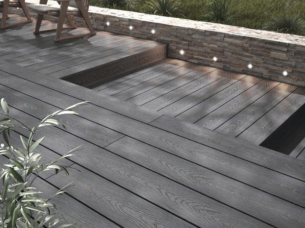 lame de terrasse composite grise brico l 2 40 m x l 14 5 cm x ep 24 mm blooma
