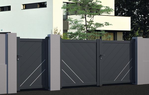 Portail Aluminium Battant Easton L 3 M Gris Brico Depot