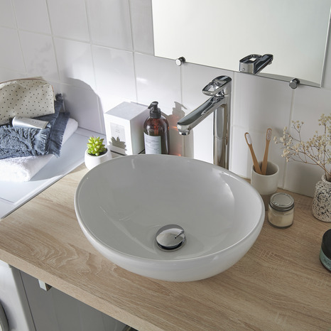 Vasque A Poser En Ceramique Blanc Nessa Brico Depot