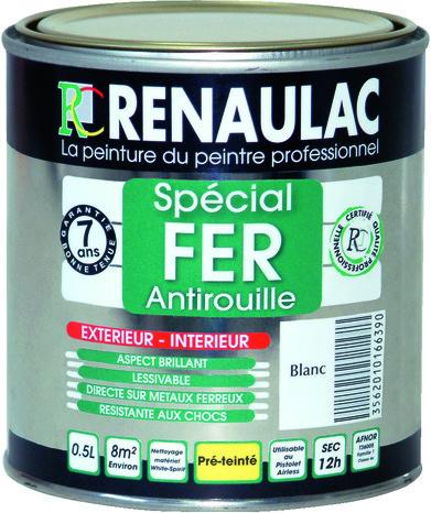 peinture fer anti rouille renaufer noir brillant pour ferronneries metaux ferreux et alliages 2 5l renaulac