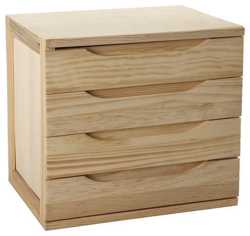 bloc de 3 tiroirs et 5 tablettes en pin