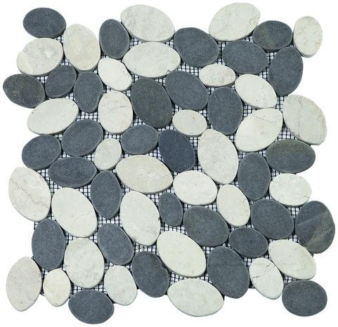 plaque de galets plats mix gris blanc