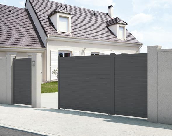 Portail Coulissant Aluminium Gris Anthracite Santos L 3 50 X H 1 80 M Brico Depot