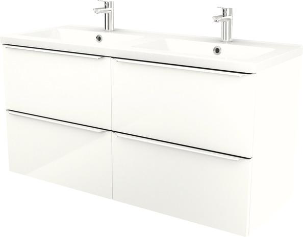 Plan Double Vasques A Encastrer En Resine Mila L 120 X H 12 X P 45