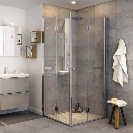 paroi pliante pour douche en verre transparent 195 x 90 cm goodhome