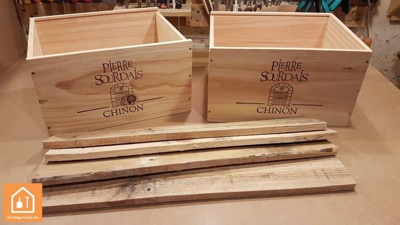 rangement a partir de caisses en bois