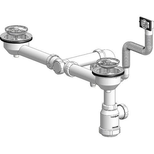 double sink drain o115 saving space tecnoagua