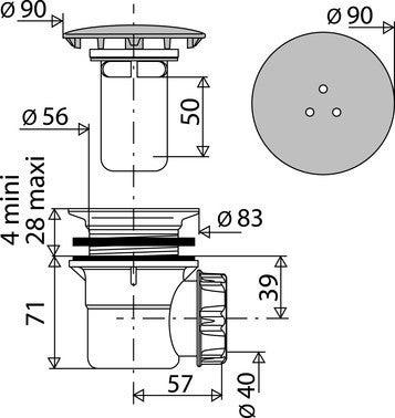 bonde de douche a capot metal pour receveur o 60 mm
