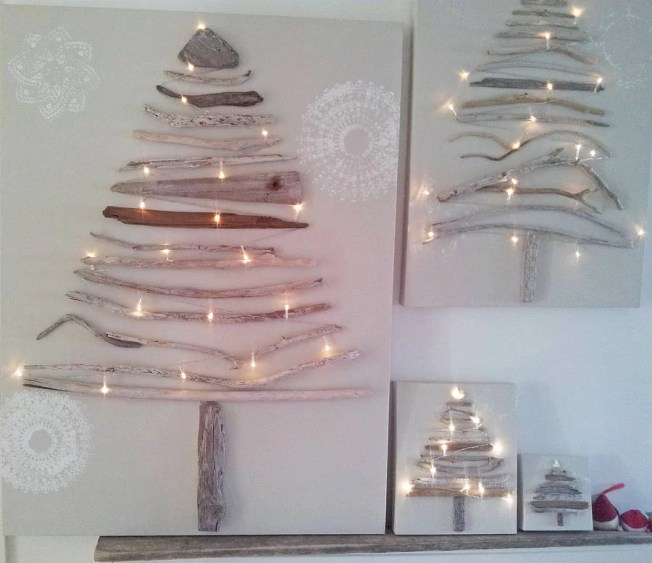 arbol navidad en lienzo con ramas