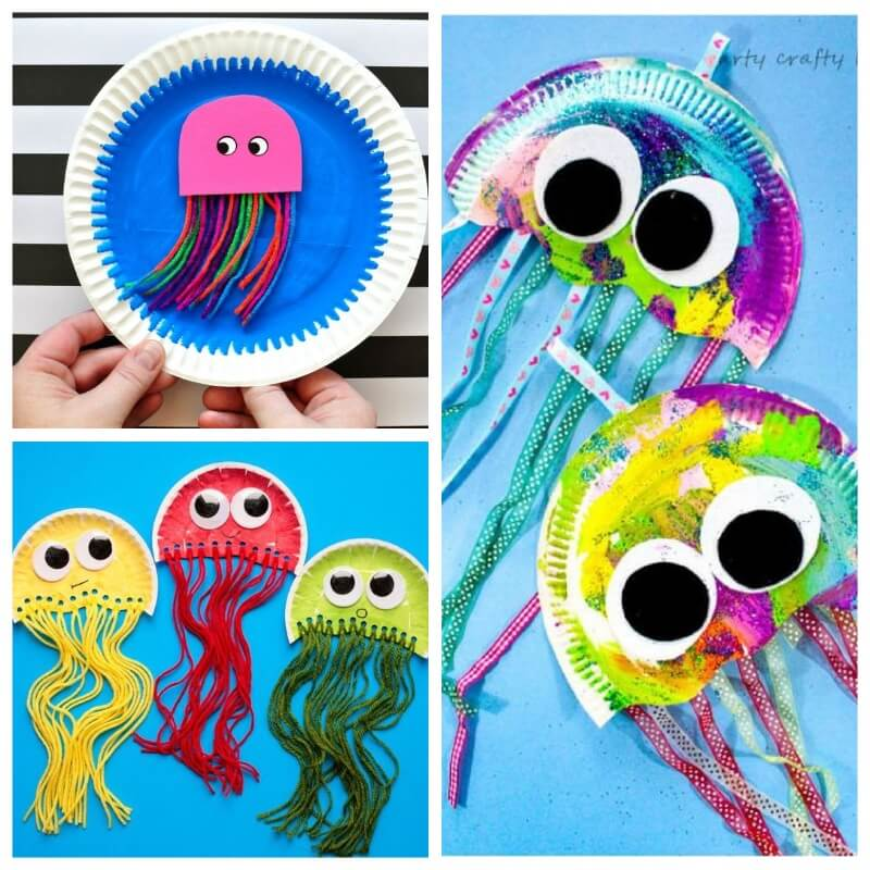medusas con platos de papel