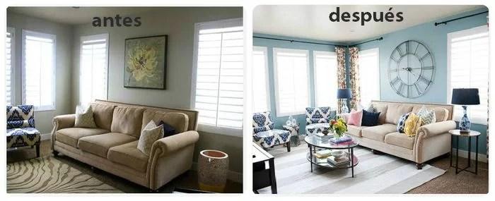 antes y después de renovar el salón