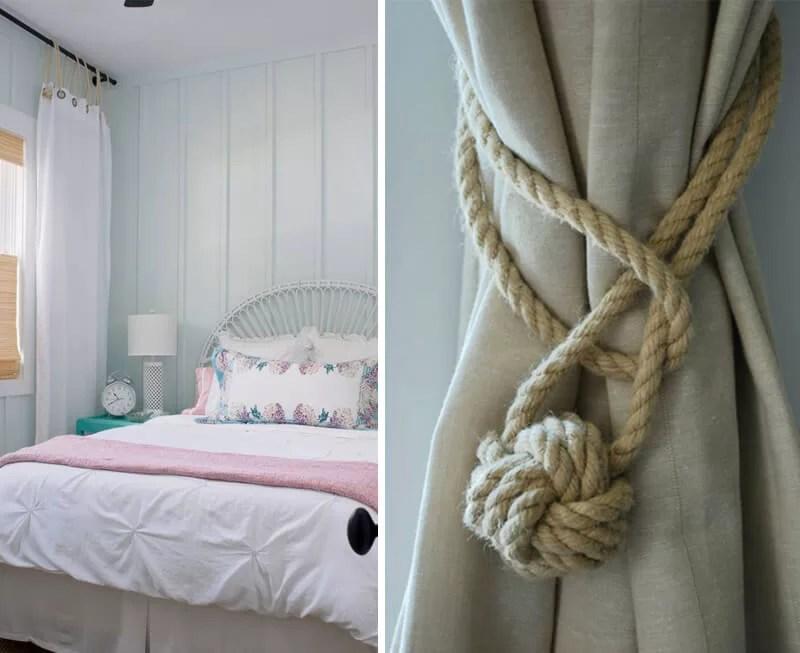 adornar cortinas con cuerdas