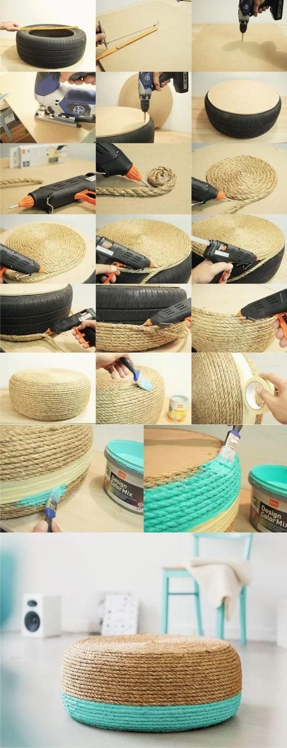 reciclar neumáticos con cuerda