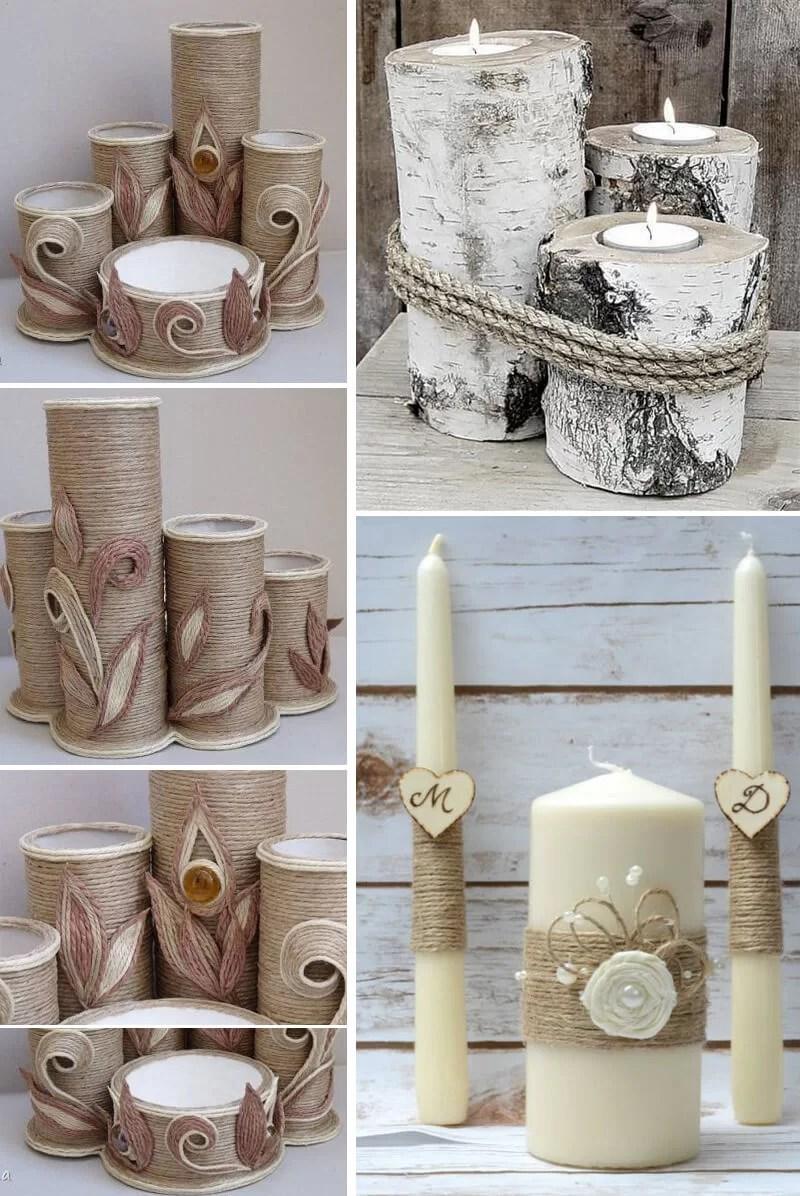decorar velas con cuerda