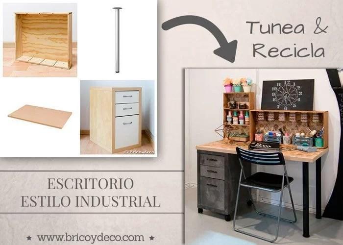 Escritorio de estilo industrial con materiales reciclados for Cajonera estilo industrial