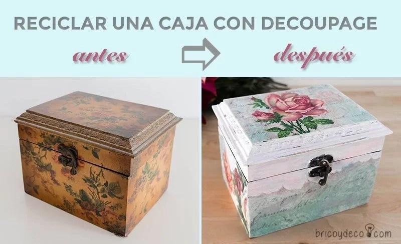 antes y después de reciclar una caja con decoupage