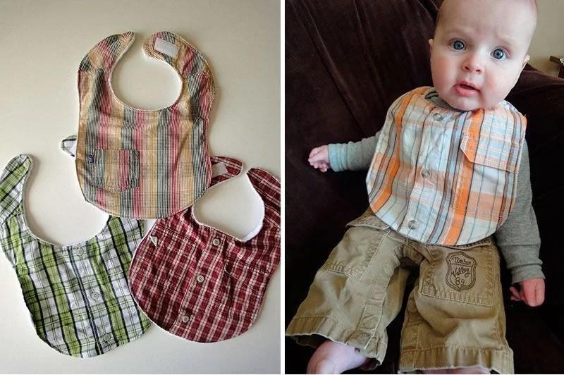 reciclar una camisa en baberos para bebé