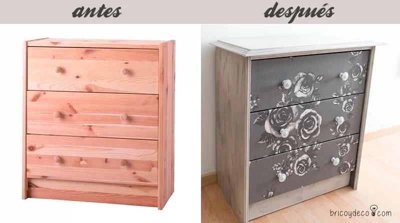 antes y después de personalizar la cómoda Rast