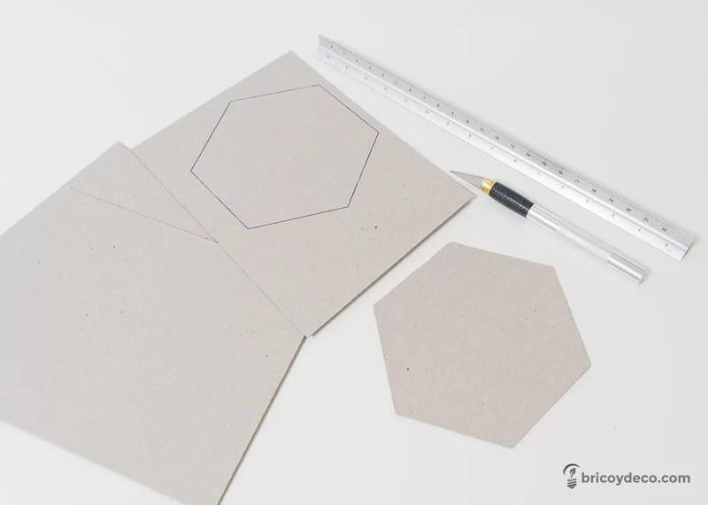 hexágonos de cartón para forrar con vinilo