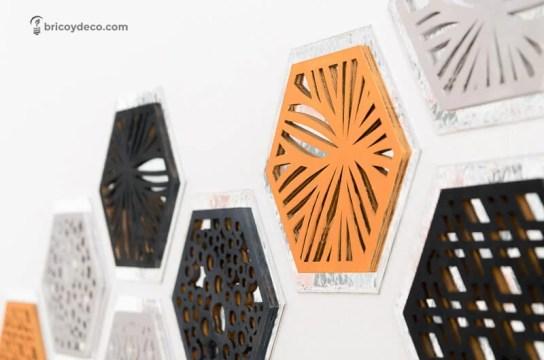 decorar con hexágonos forrados con vinilo espejo