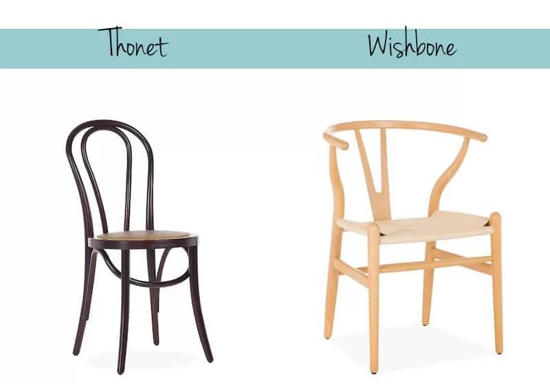 Silla Thonet No. 14 de Michael Thonet y silla Wishbone de Hans J. Wegner