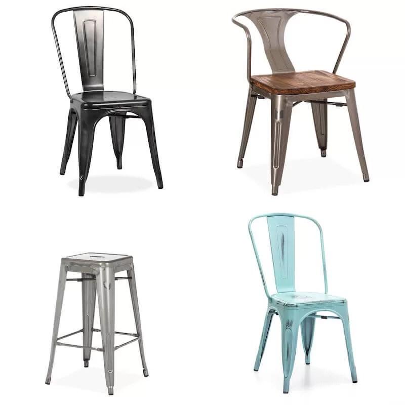 Silla Tolix A, silla Tolix A56 y taburete H de Xavier Pauchard