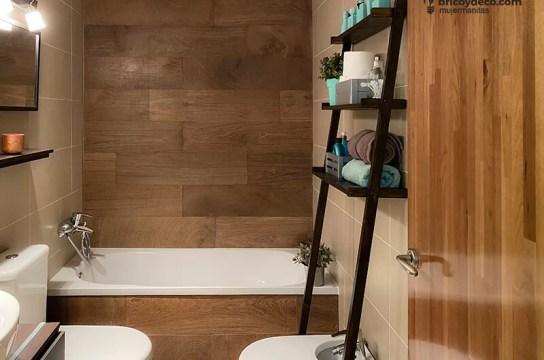 cómo hacer una estantería escalera para el baño