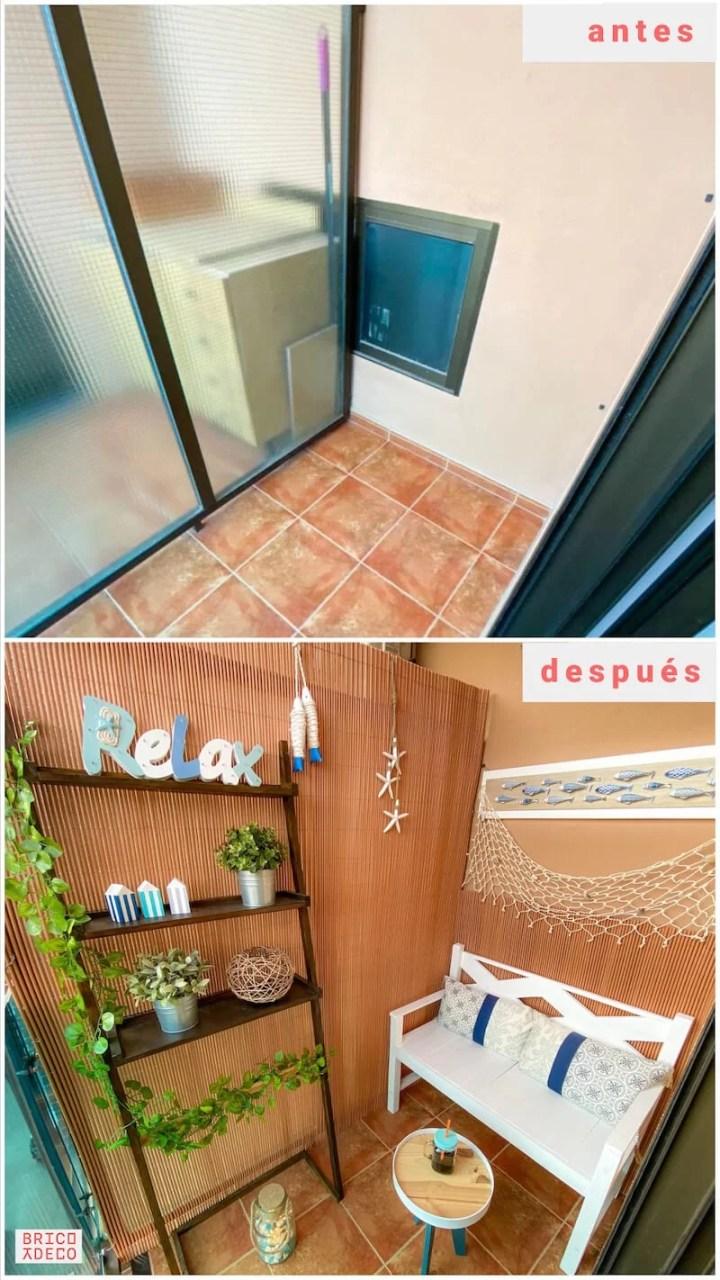 antes y después de decorar un balcón pequeño